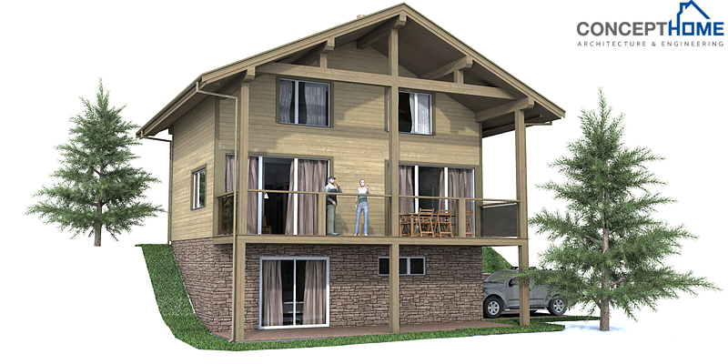 Small house ch59 3f 123m 3b small house plan to small for Home designs for sloped lots
