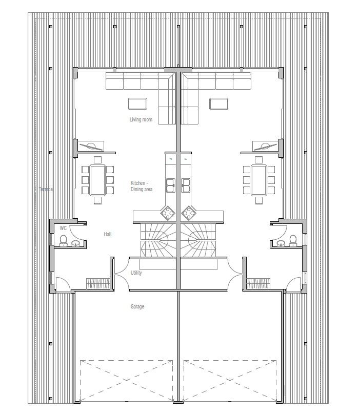 Duplex house oz83d duplex house plan with four bedrooms for Detached duplex designs