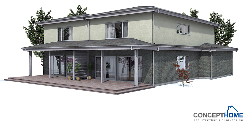 Duplex House Plan Oz66d With Garage And Large Covered Backyard Terrace House Plan