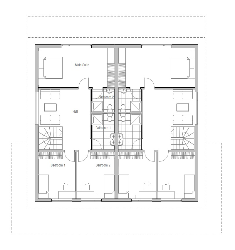 Duplex House Plan Oz66d With Garage And Large Covered