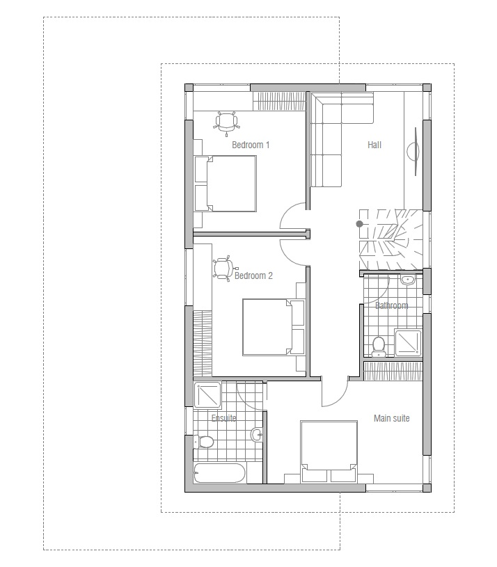 Superb Home Design 20 X 30 Part - 12: Superb Home Plans For 20x30 Site #6: Modern Narrow House Plan With Three  Bedrooms