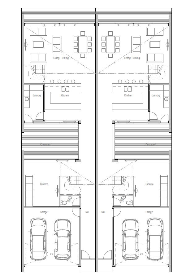 Narrow lot duplex home plans home design and style for Narrow duplex plans