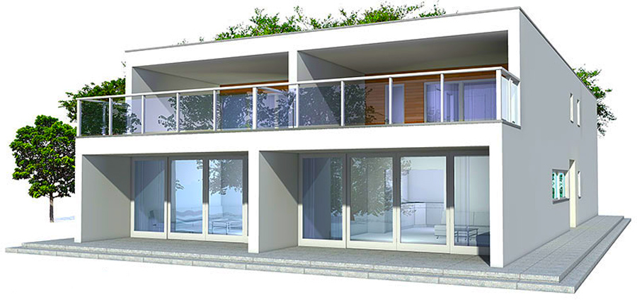 Duplex house co83d 2 in contemporary architecture for Duplex plans with cost to build