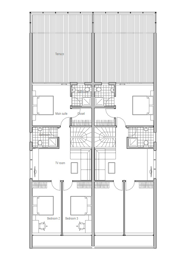 Duplex house co83d 2 in contemporary architecture house plan for Contemporary duplex plans