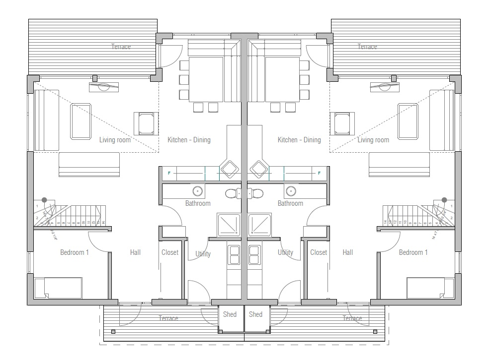 Duplex house plan with four bedrooms house plan for Four bedroom duplex plan