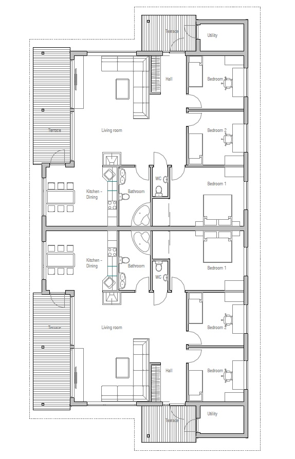 Duplex House Plan With Three Bedrooms House Plan