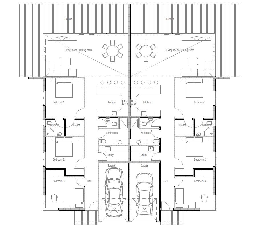 Duplex house ch120d house plan for two families house plan Duplex plans 1000 sq ft