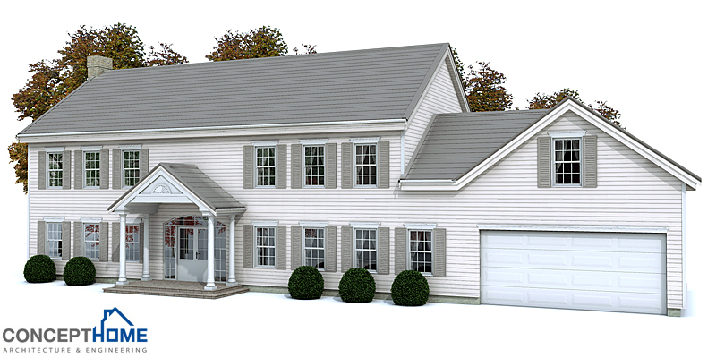Classical american house ch133 with symmetrical lines and for Large colonial house plans