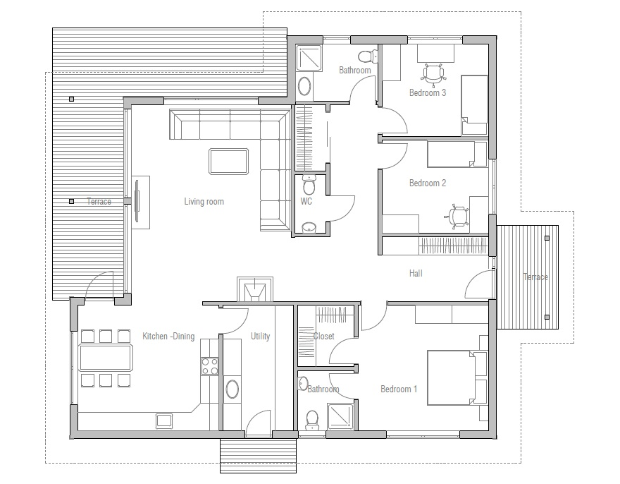 Small house plan CH121 with simple lines and three bedrooms. Small ...