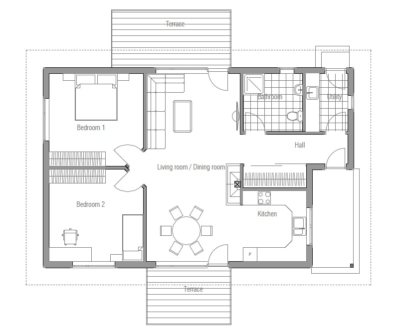 Small house plan ch93 house design and floor plans small Floor plans and cost to build