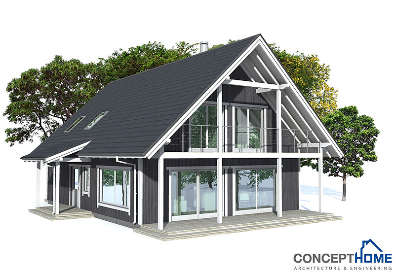 small house plan ch137 in nordic architectural style.