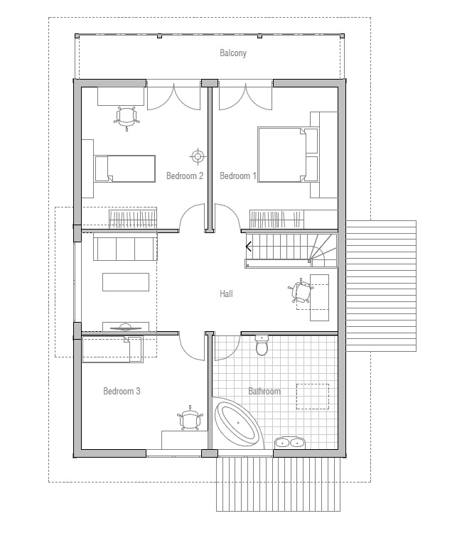 Small house plan ch137 in nordic architectural style for Low building cost house plans