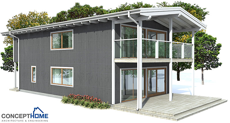 Small house plan ch66 to narrow lot with three bedrooms for Contemporary house plans with lots of windows