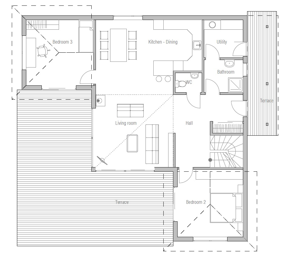 Small Home Tiny House Plans: Small House Plan CH18 With Straight Lines And Simple