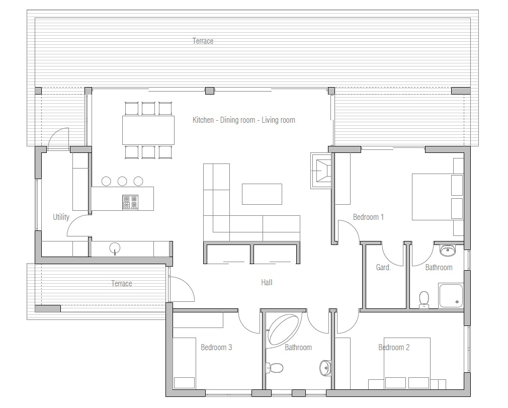Small house plan ch140 in contemporary architecture small for Modern 3 bedroom house floor plans