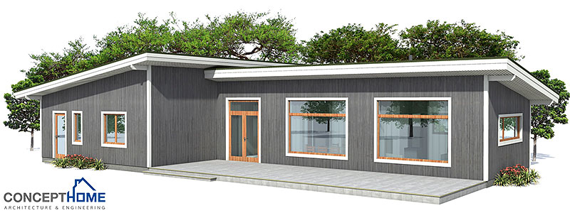 Small house ch3 to wide lot with affordable building for Cheap modern house plans