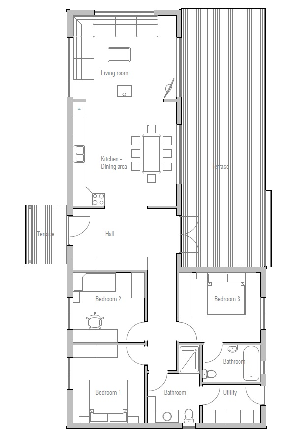 Small house ch3 to wide lot with affordable building for Choice homes floor plans