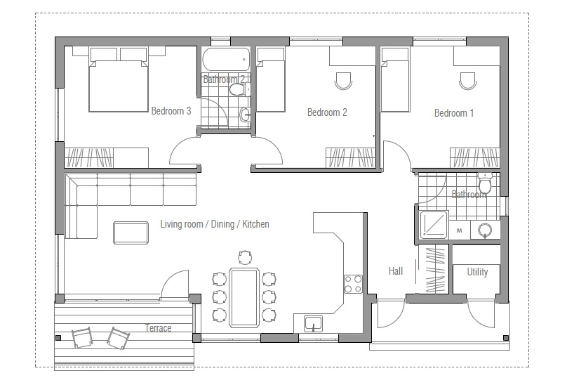 Small house plan ch63 in classical architecture small for House plans to build under 100 000