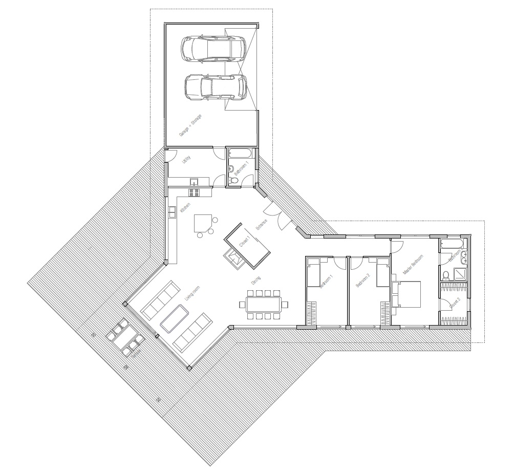 Modern house design ch134 to very large lot house plan for Y shaped house plans