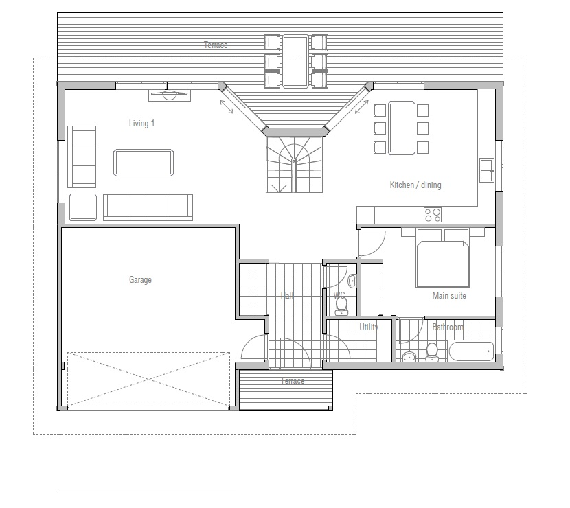 Modern House Ch54 With Large Family Room House Plan