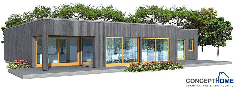 Modern minimalist house design ch161 in one level house plan for Small modern minimalist house plans