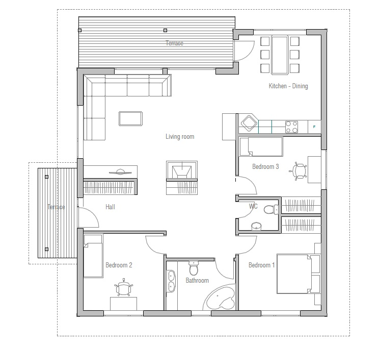 Normal Master Bathroom Size: Small House Plan CH10 In Modern Style And Affordable