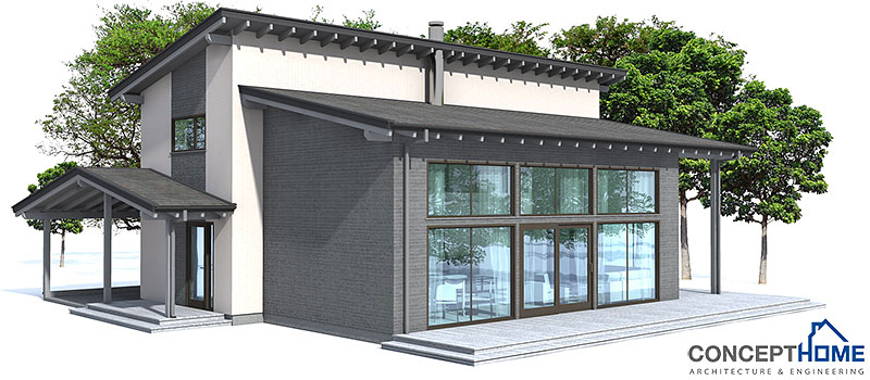 Modern House CH51 with open planning. House Plan