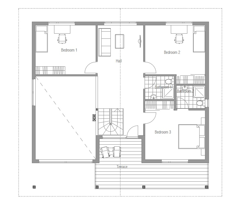 Modern House Ch53 With Four Bedrooms House Plan