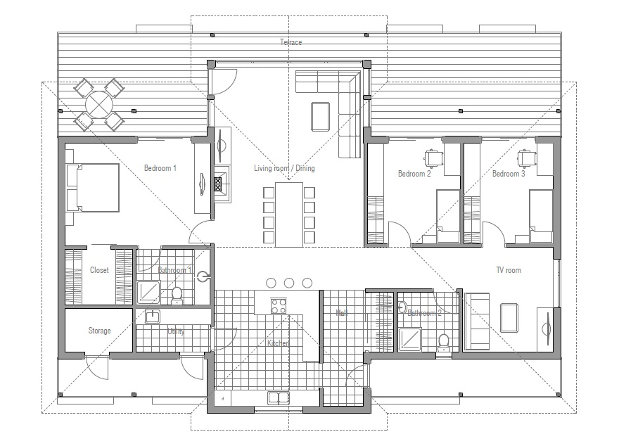 Modern house ch86 floor plan images house plan for Modern open house plans
