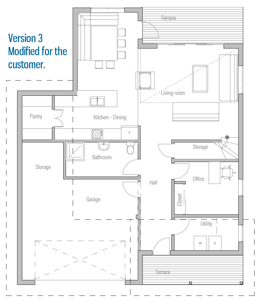 Modern House CH9 construction blueprints House Plan