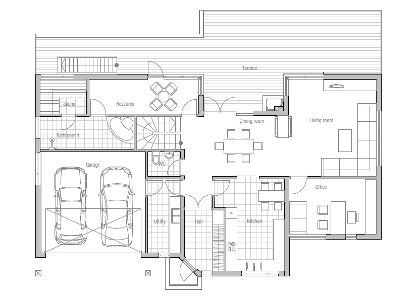 Modern house ch81 with floor plans and details house plan for Sauna floor plans