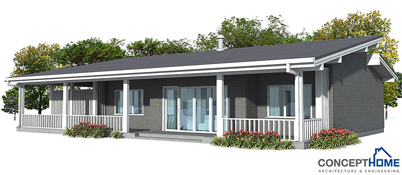 Small modern contemporary house plan ch23 1f 101m 3b for Most inexpensive house to build