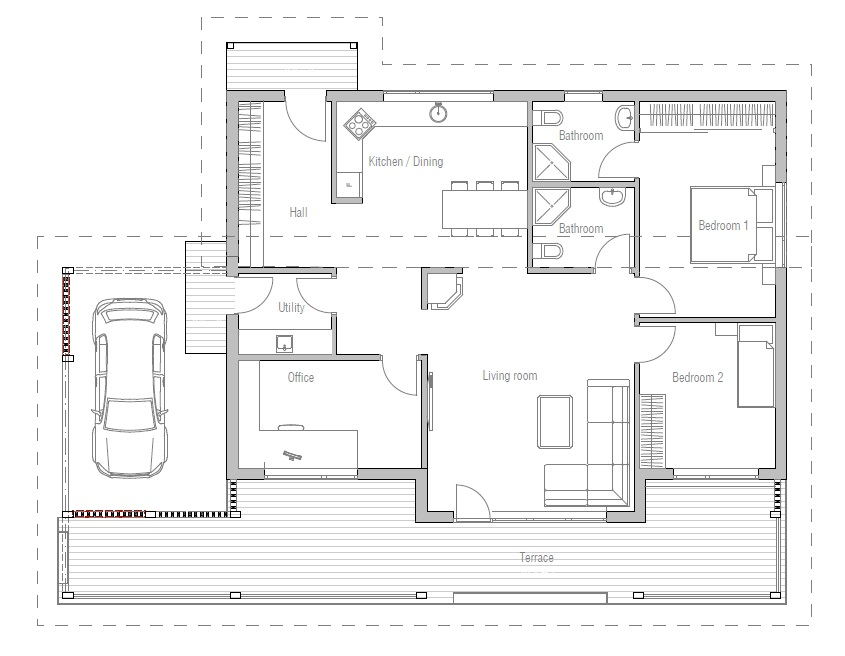 Affordable home ch23 in modern architecture house plan for Affordable floor plans