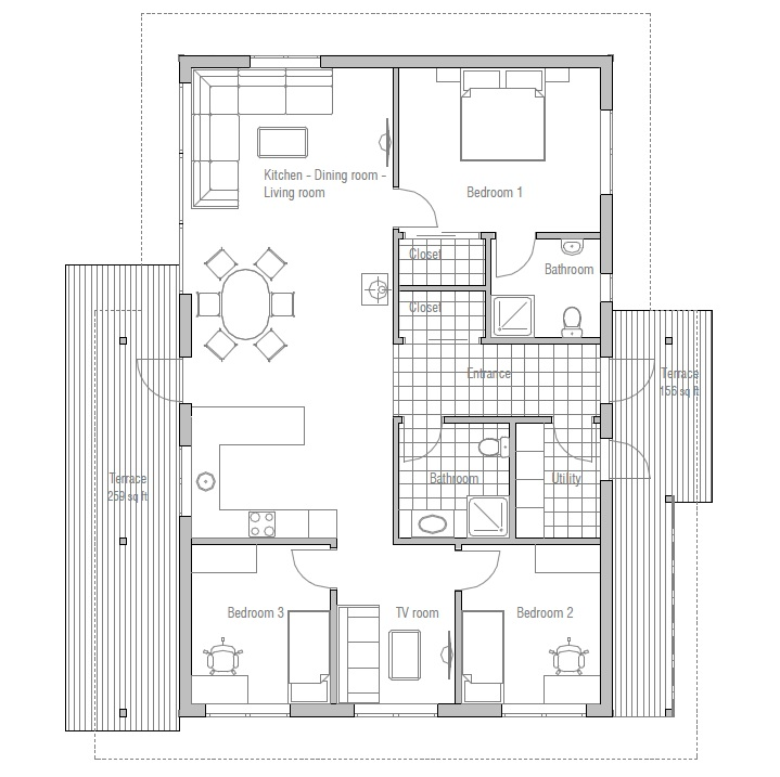 Small very efficient 3 bed cottage for Affordable bungalow house plans