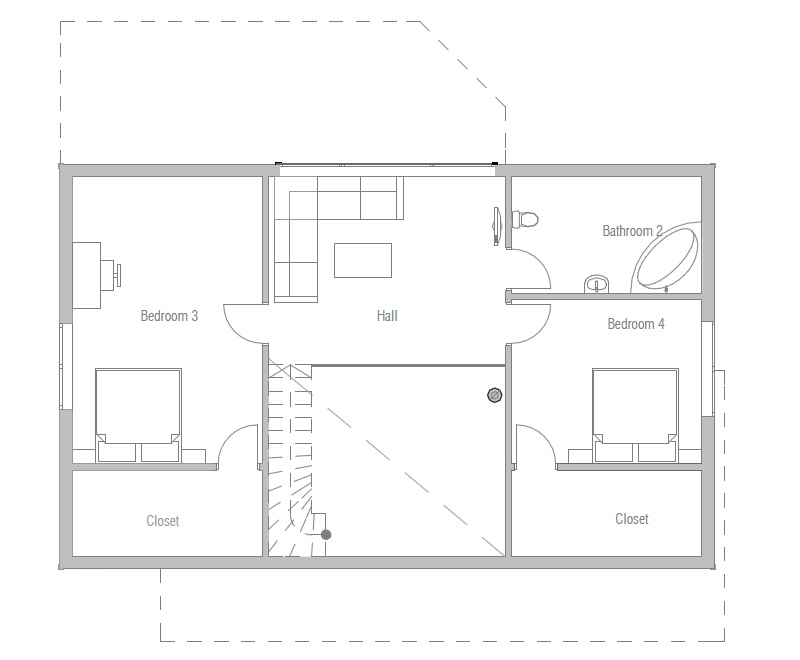 Affordable home ch21 in modern architecture house plan for Affordable 4 bedroom house plans