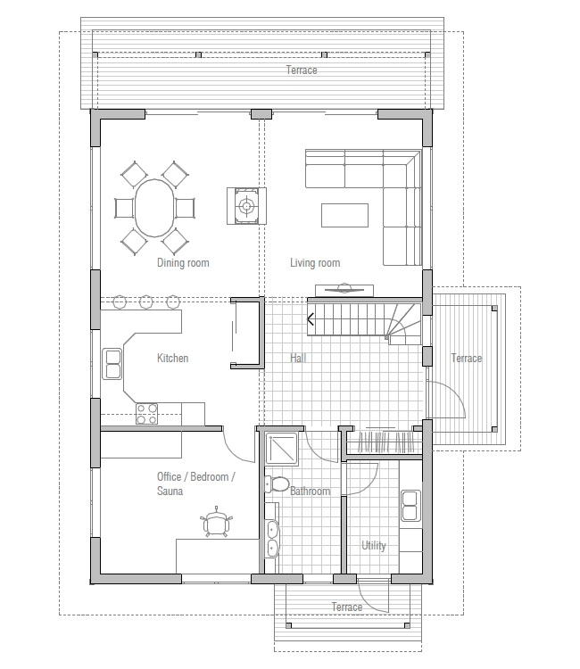 Affordable home ch137 floor plans with low cost to build for Most inexpensive house plans to build
