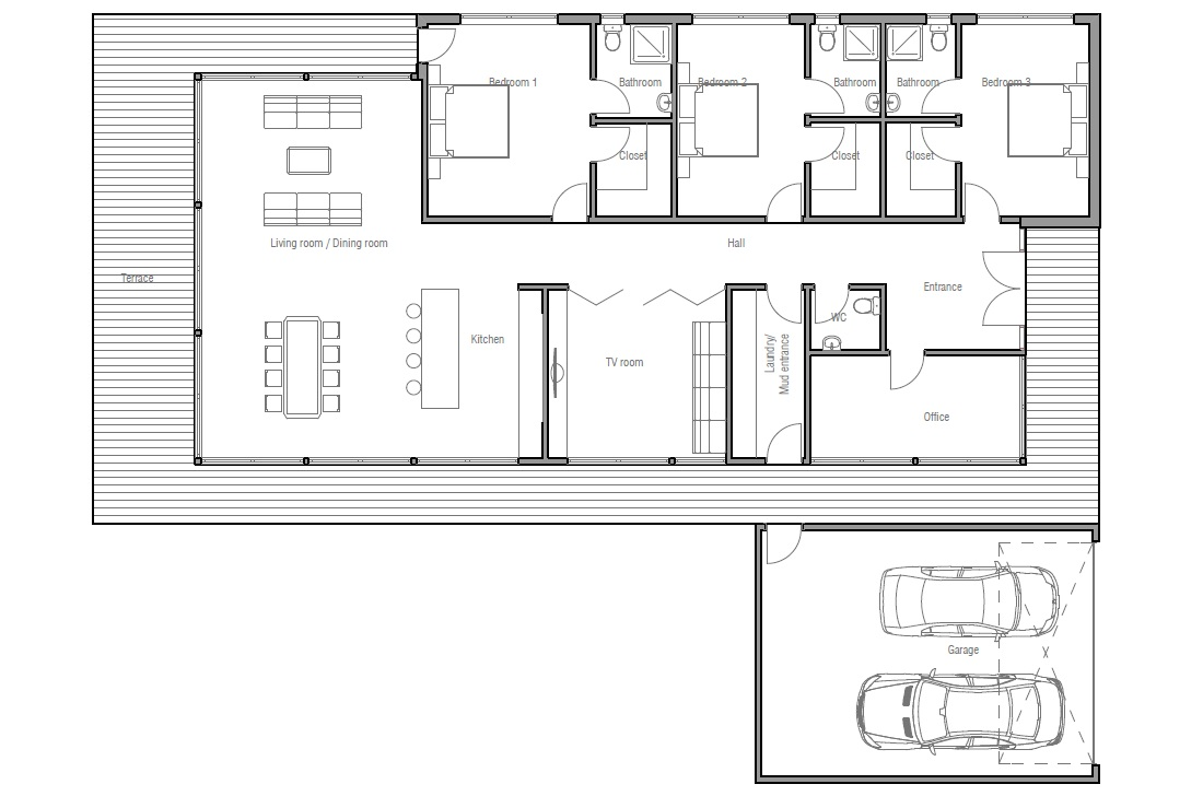 Contemporary home design ch163 with full wall height for Wall homes floor plans