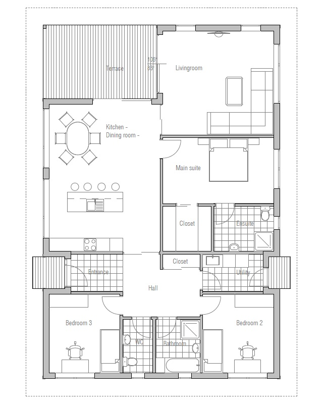 Small House Plan Ch72 For Modern Family Small Home Design