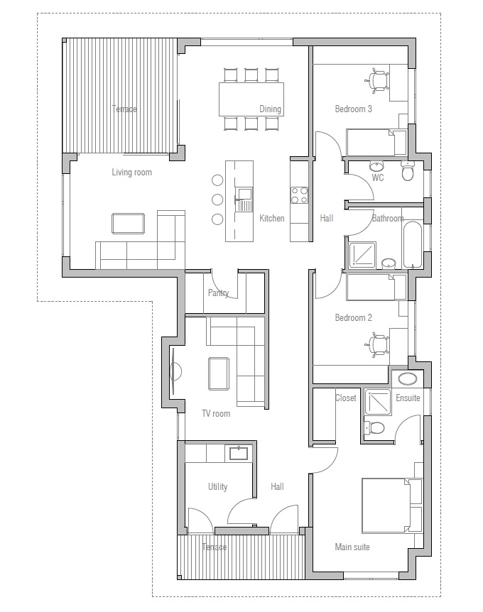 Small house plan ch73 in modern classical architecture for Small low cost house plans