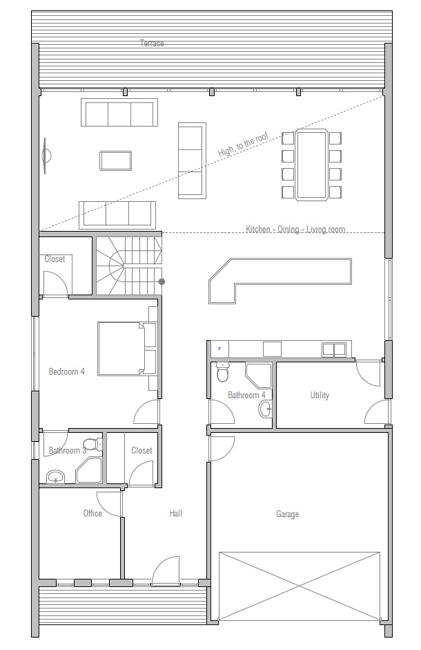 Contemporary Home Plan Ch190 Modern Style House Plan