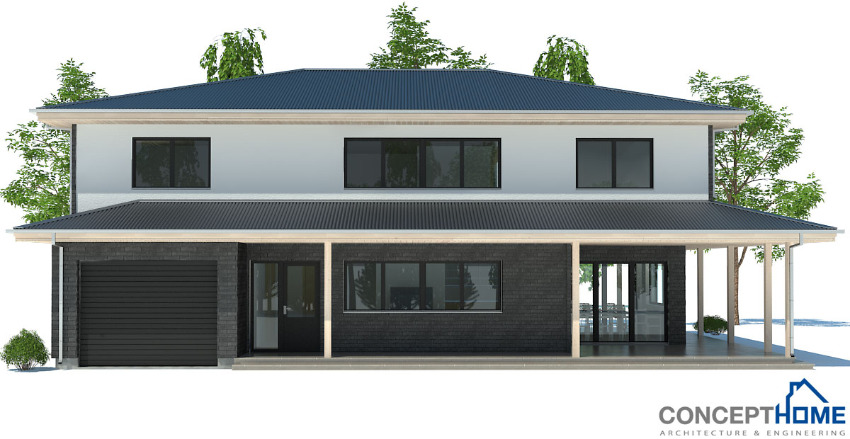Modern House Plan Ch179 To Wide Lot With Two Floors