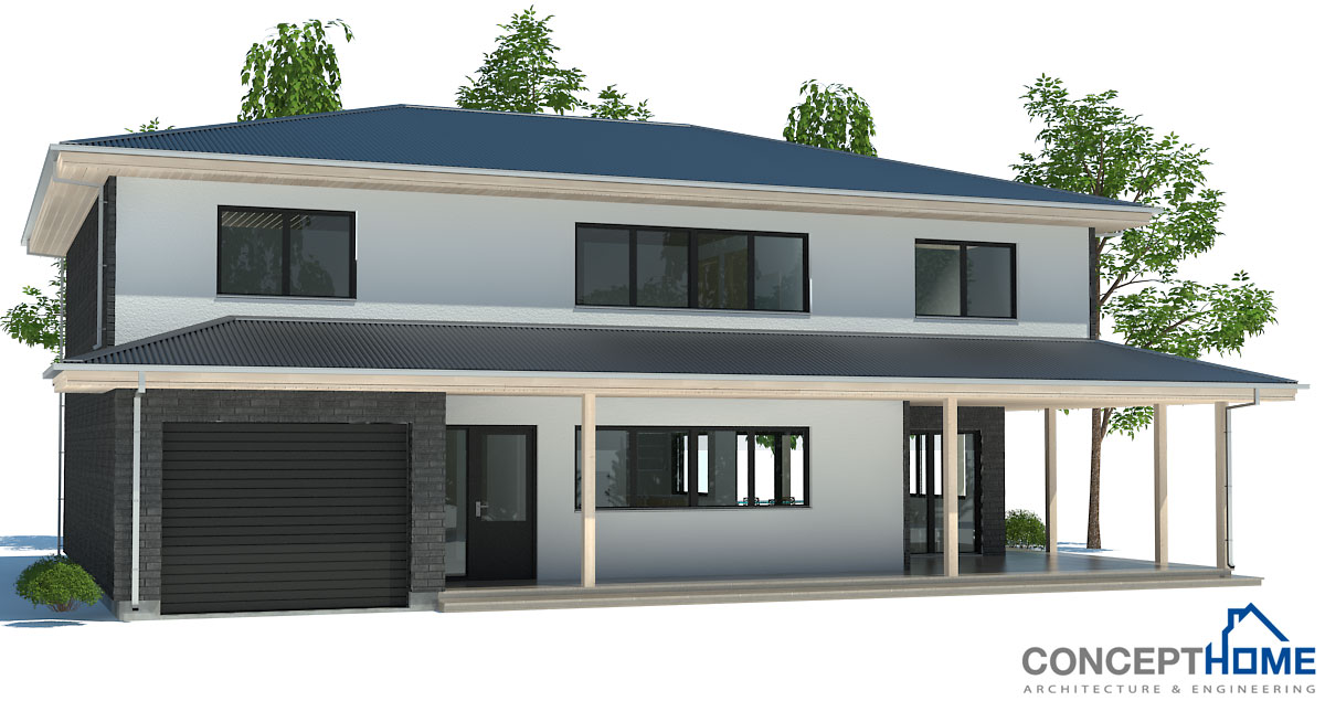 Modern House Plan Ch179 To Wide Lot With Two Floors House