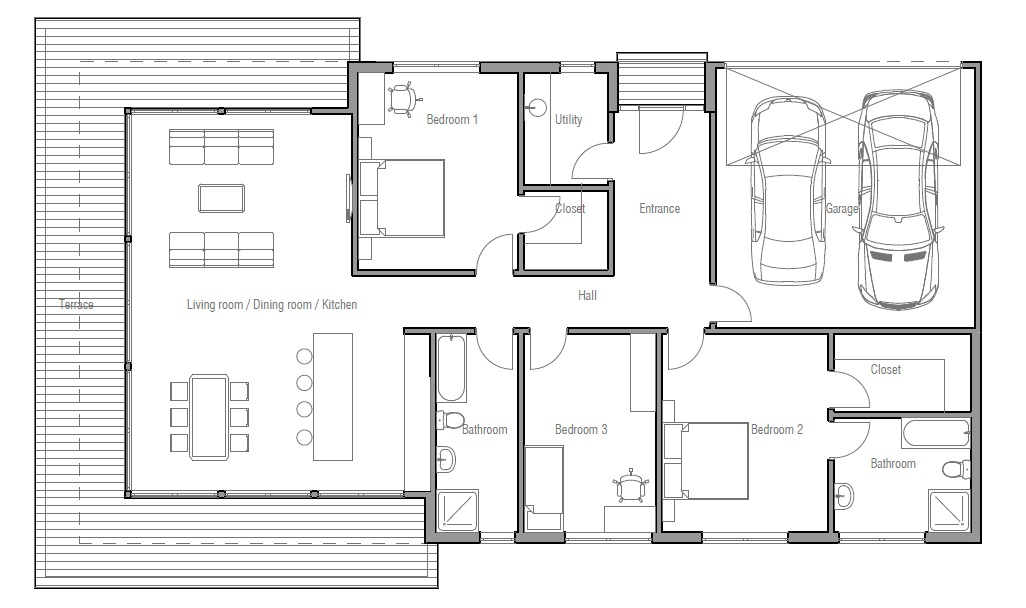 Contemporary home plan ch183 floor plan details house plan for 3 bedroom floor plan with garage