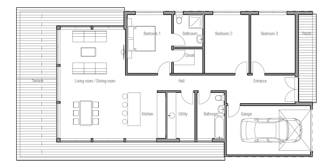 Small house plan ch181 in modern contemporary architecture Modern house floor plans