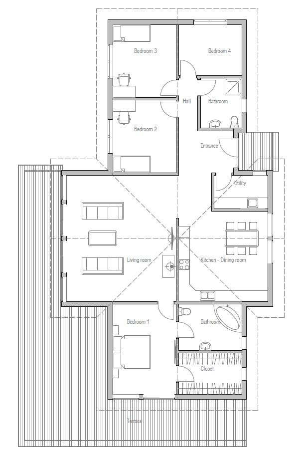 Small house plan ch192 with vaulted ceiling small home design with four bedrooms house plan - House plans high ceilings ...