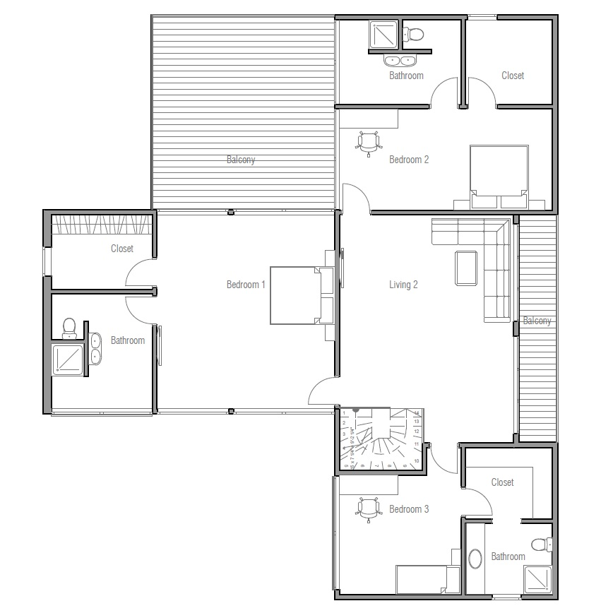 Contemporary Home Plan   three big bedrooms and separate family        new designs     house plan ch  jpg