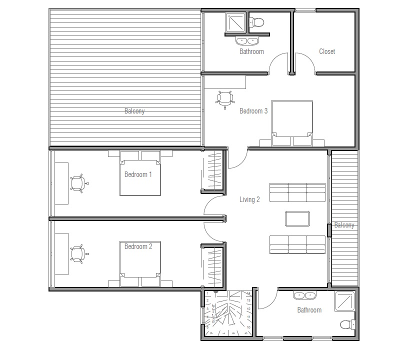 Contemporary home plan with three bedroom large balcony for Large 3 bedroom house plans