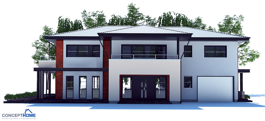 Large modern house plan with four bedrooms for Small modern house plans two floors