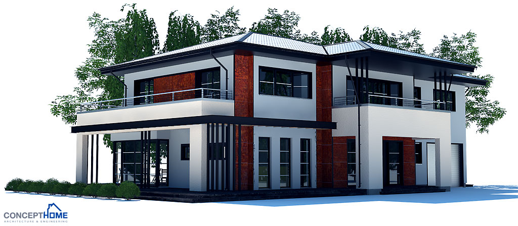 Large Modern House Plan with four bedrooms. House Plan