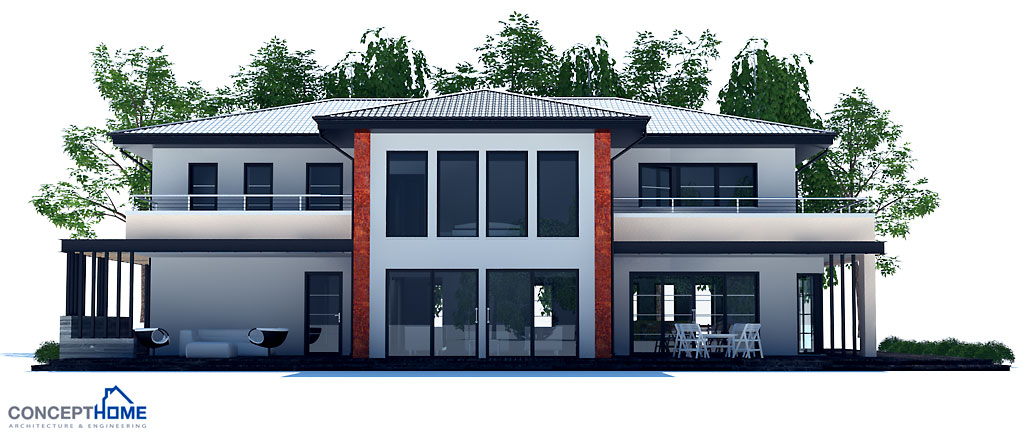 Large modern house plan with four bedrooms house plan for Big modern houses pictures
